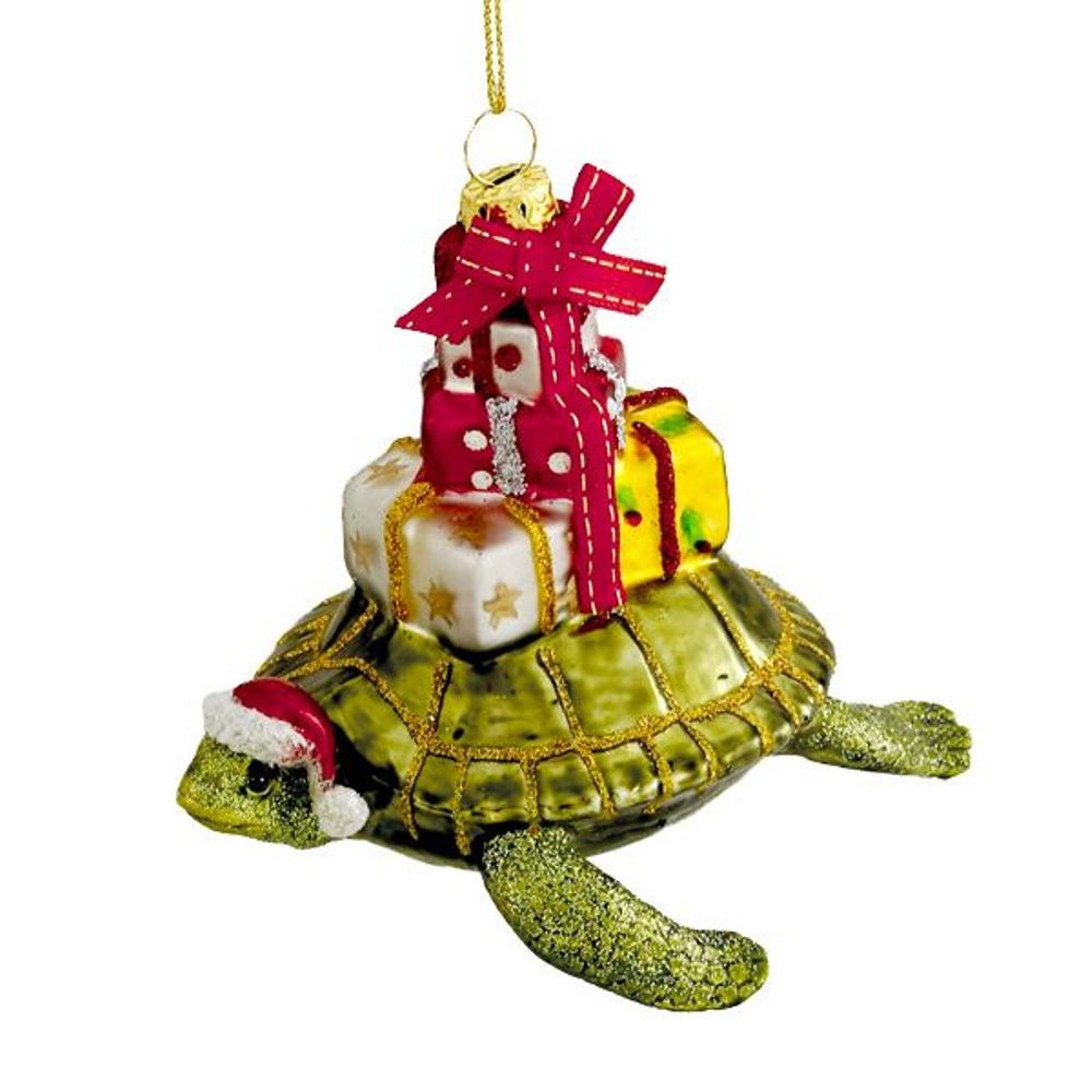 Glass Ornament - Turtle With Gifts - 4in