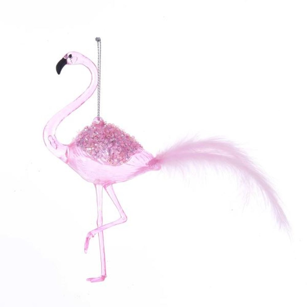 Christmas Ornament - Pink Flamingo - 6.3in