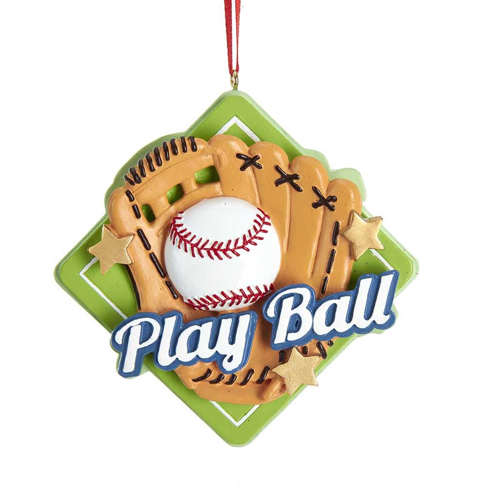 Christmas Ornament - Play Ball Baseball with Mit - 3.5in