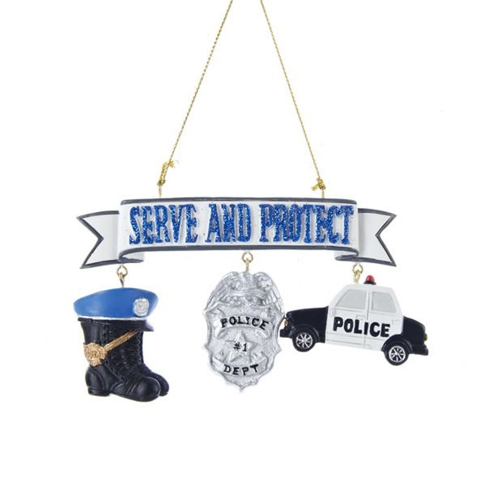 Christmas Ornament - Police Serve And Protect - 4.25in