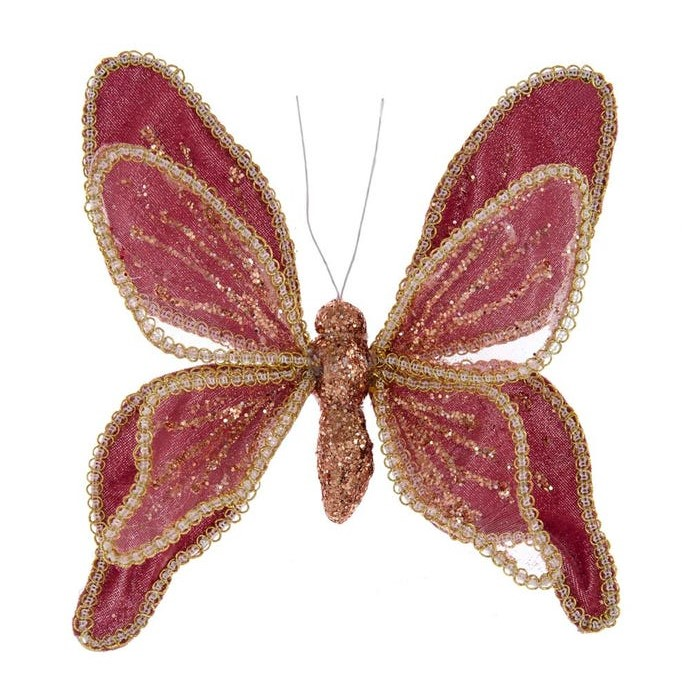 Christmas Ornament - Red/Gold Butteryfly With Clip - 7.5in