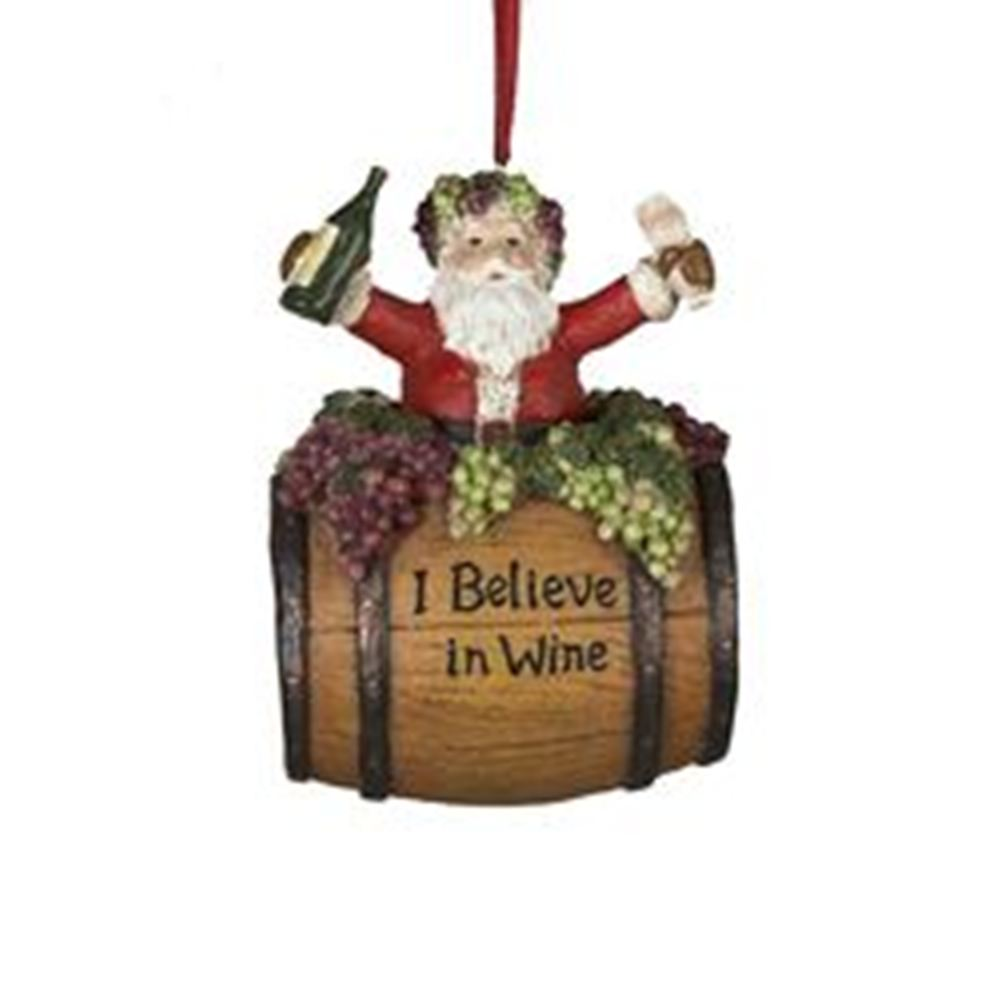 Christmas Ornament - Santa On Wine Barrel - 4in