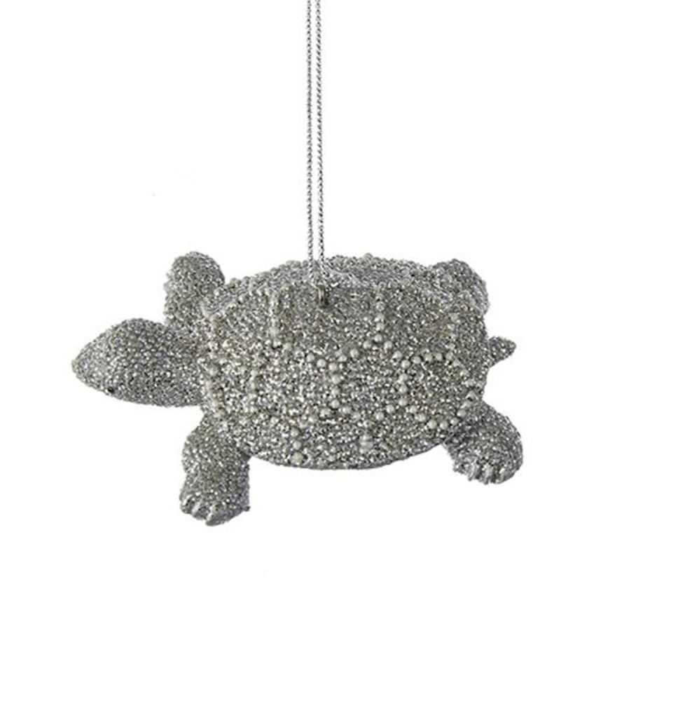 Christmas Ornament - Silver Sea Turtle - 3.25in