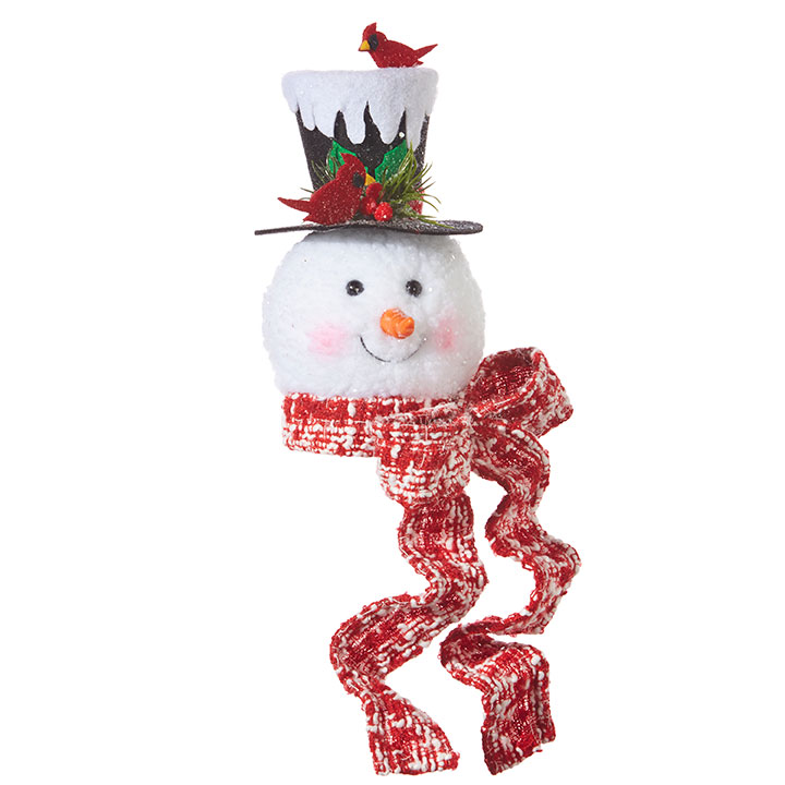 Christmas Ornament - Snowman Head With Cardinal Top Hat - 7.5in
