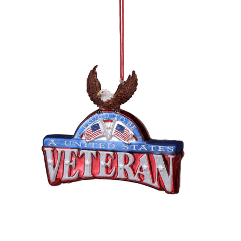 Christmas Ornament - U.S. Veteran With Eagle Plaque - 4.25in