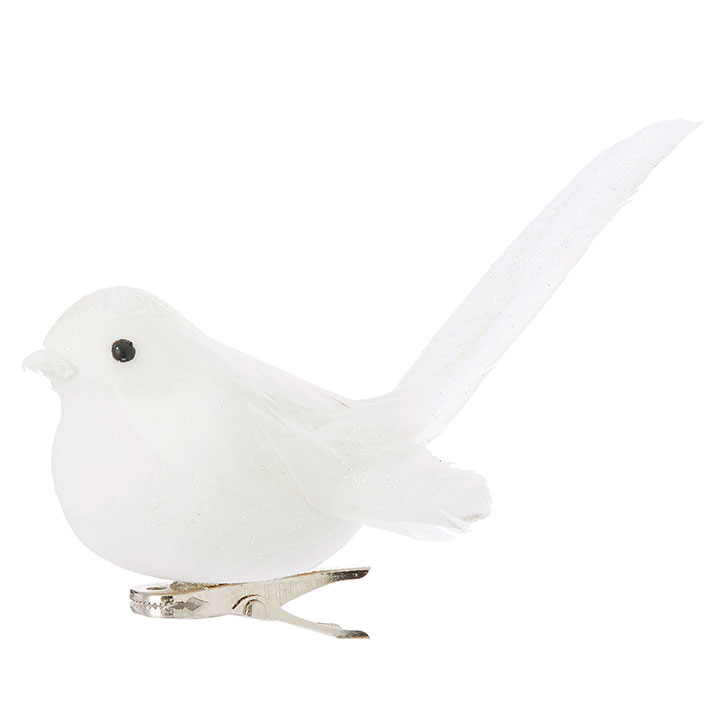 Christmas Ornament - White Clip-On Bird - 4in