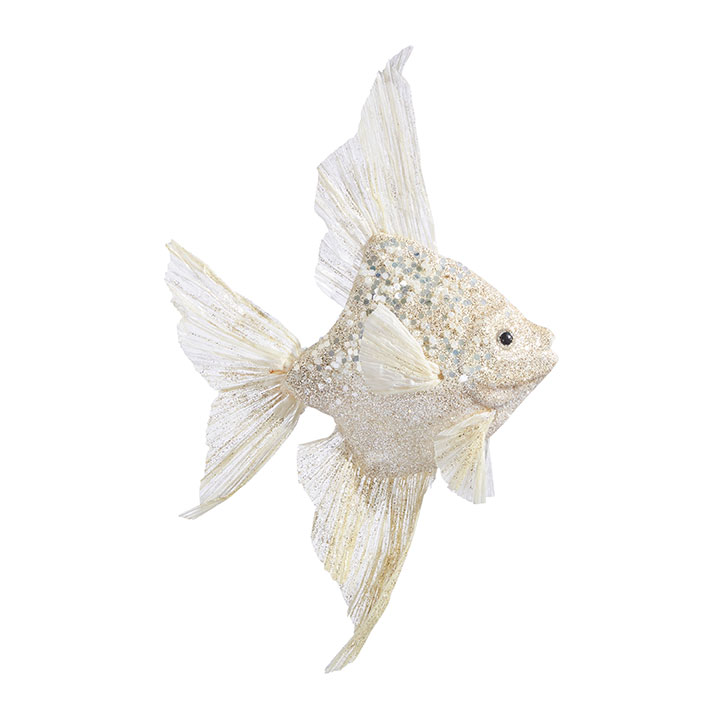 Christmas Ornament - White & Gold Angelfish - 10in