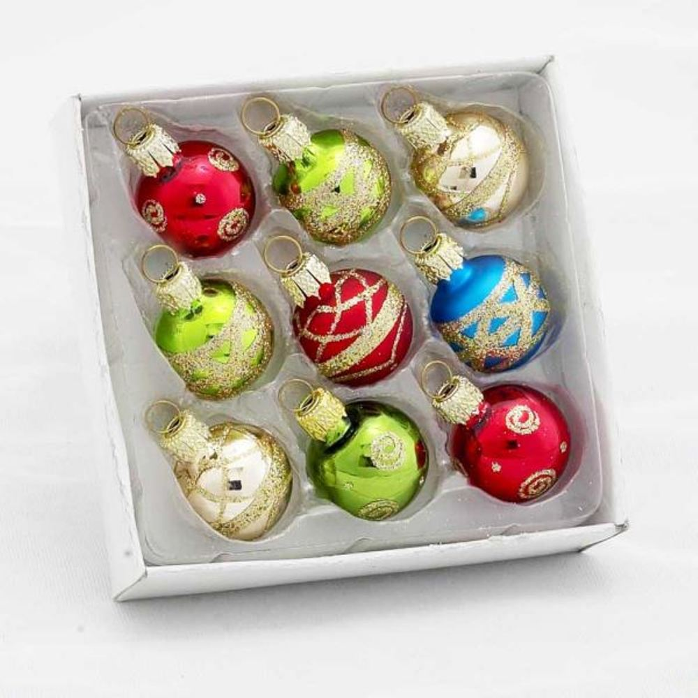 Glass Ornament - Multi-Colored Decorated Balls - Set of 9