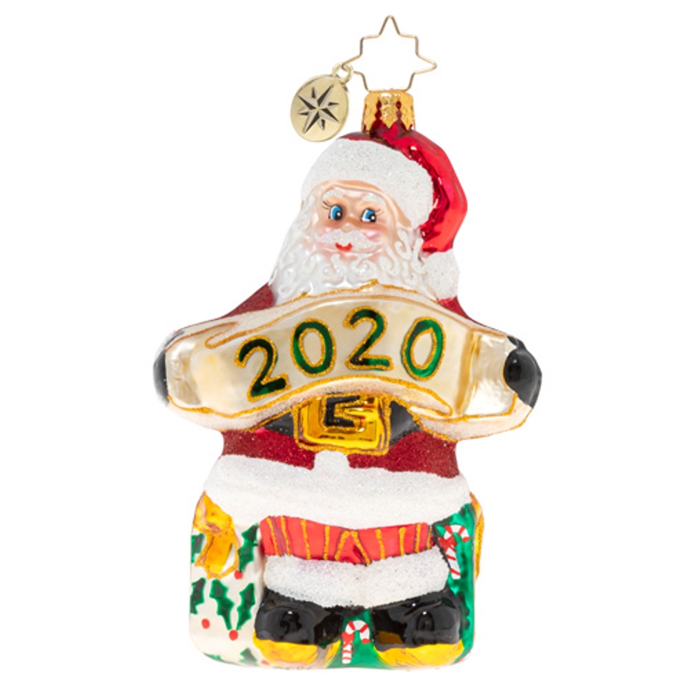 Christopher Radko Glass Ornament - A Banner Year For Santa 2020