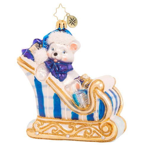 Christopher Radko Glass Ornament - A Beary Good Boy Sleigh 2021