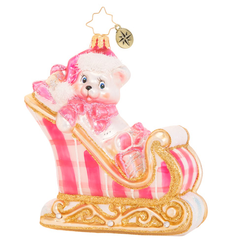Christopher Radko Glass Ornament - A Beary Good Girl Sleigh 2021