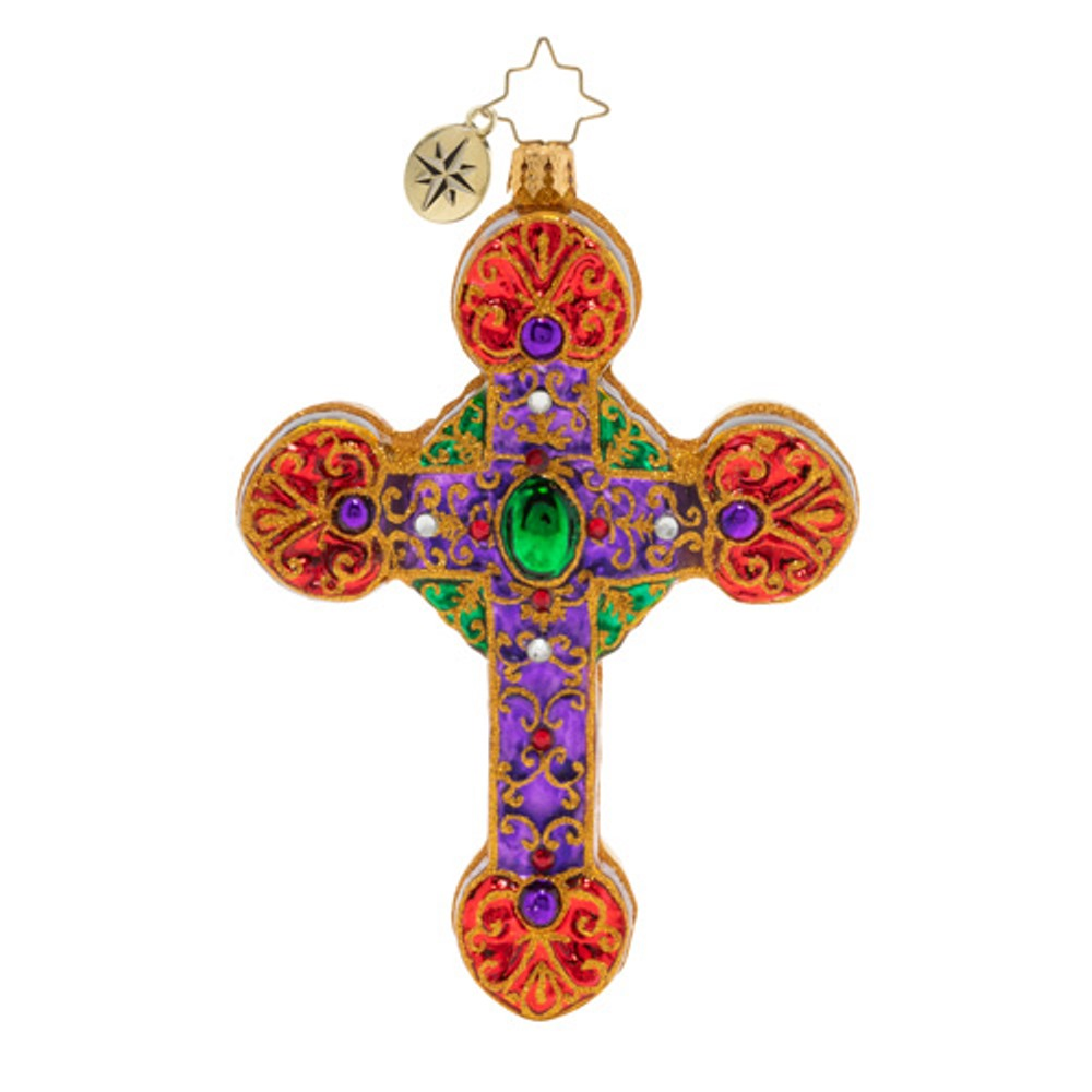Christopher Radko Glass Ornament - A Cross, Fit for Royalty 2019