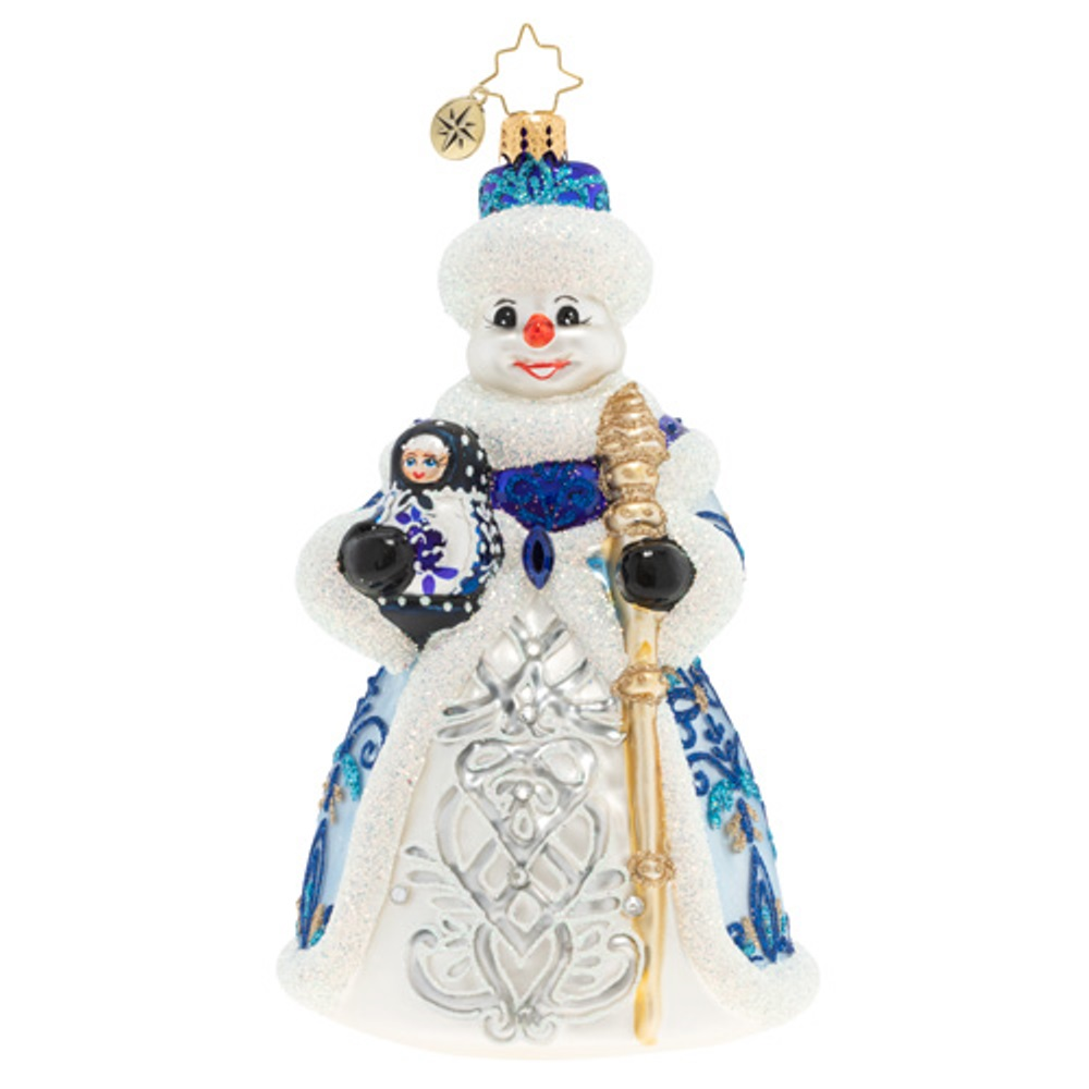 Christopher Radko Glass Ornament - A Dolled-Up Snowman 2020