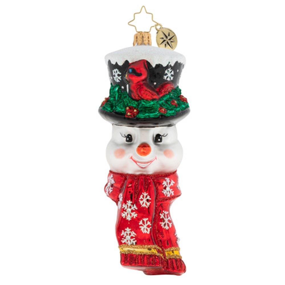 Christopher Radko Glass Ornament - A Snowman Worth Flocking To 2020
