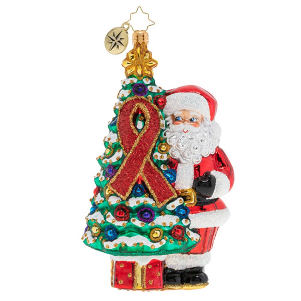 Christopher Radko Glass Ornament - AIDS Awareness Christmas Tree 2019