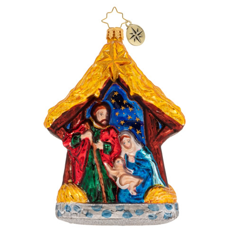 Christopher Radko Glass Ornament - Asleep In The Manger 2019