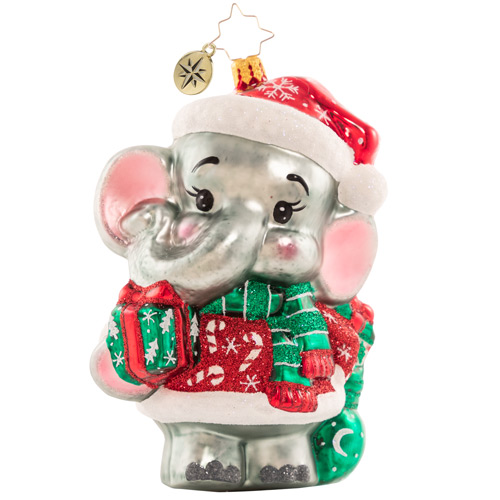 Christopher Radko Glass Ornament - Baby Benevolent Elephant 2021