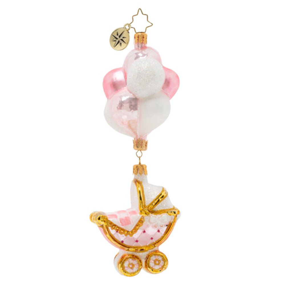 Christopher Radko Glass Ornament - Baby Girl Buggy & Balloons 2020