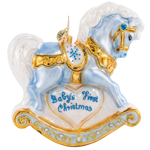 Christopher Radko Glass Ornament - Baby's First Christmas Foal 2021