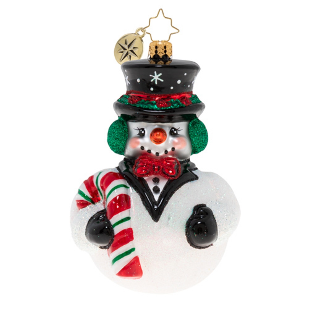Christopher Radko Glass Ornament - Black-Tie Frosty 2020