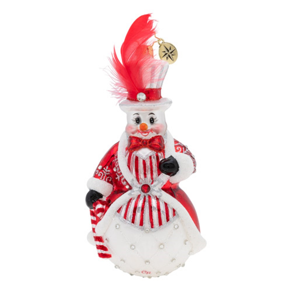 Christopher Radko Glass Ornament - Cheerful Ruby Snowman 2019