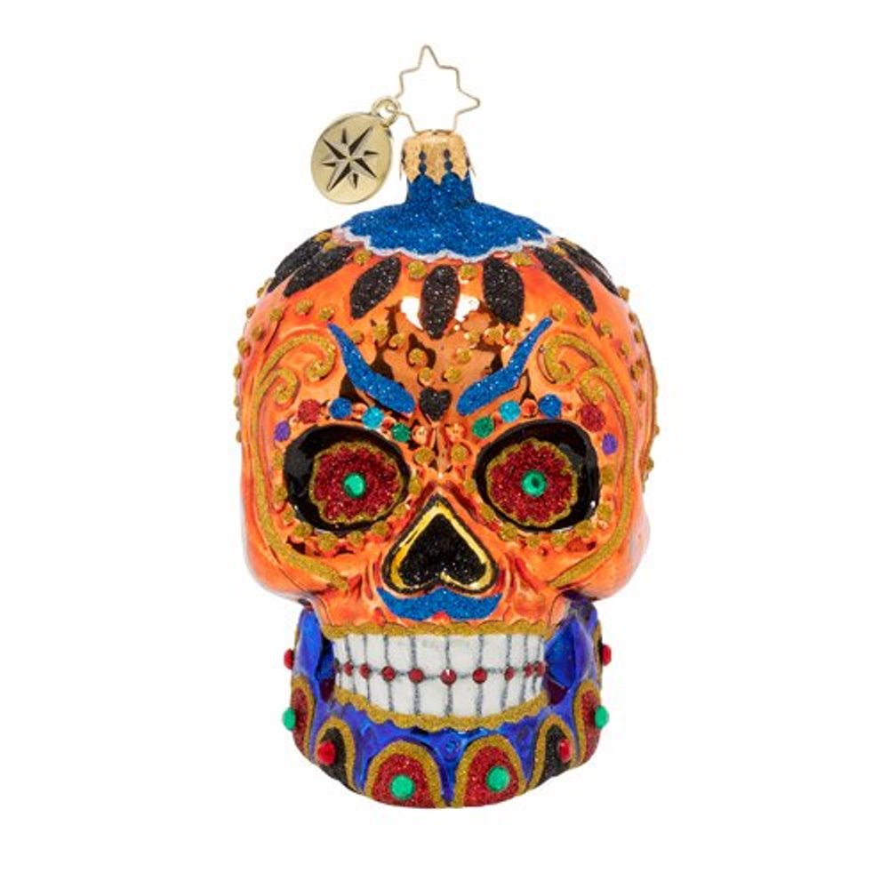 Christopher Radko Glass Ornament - Colorful Calavera 2020