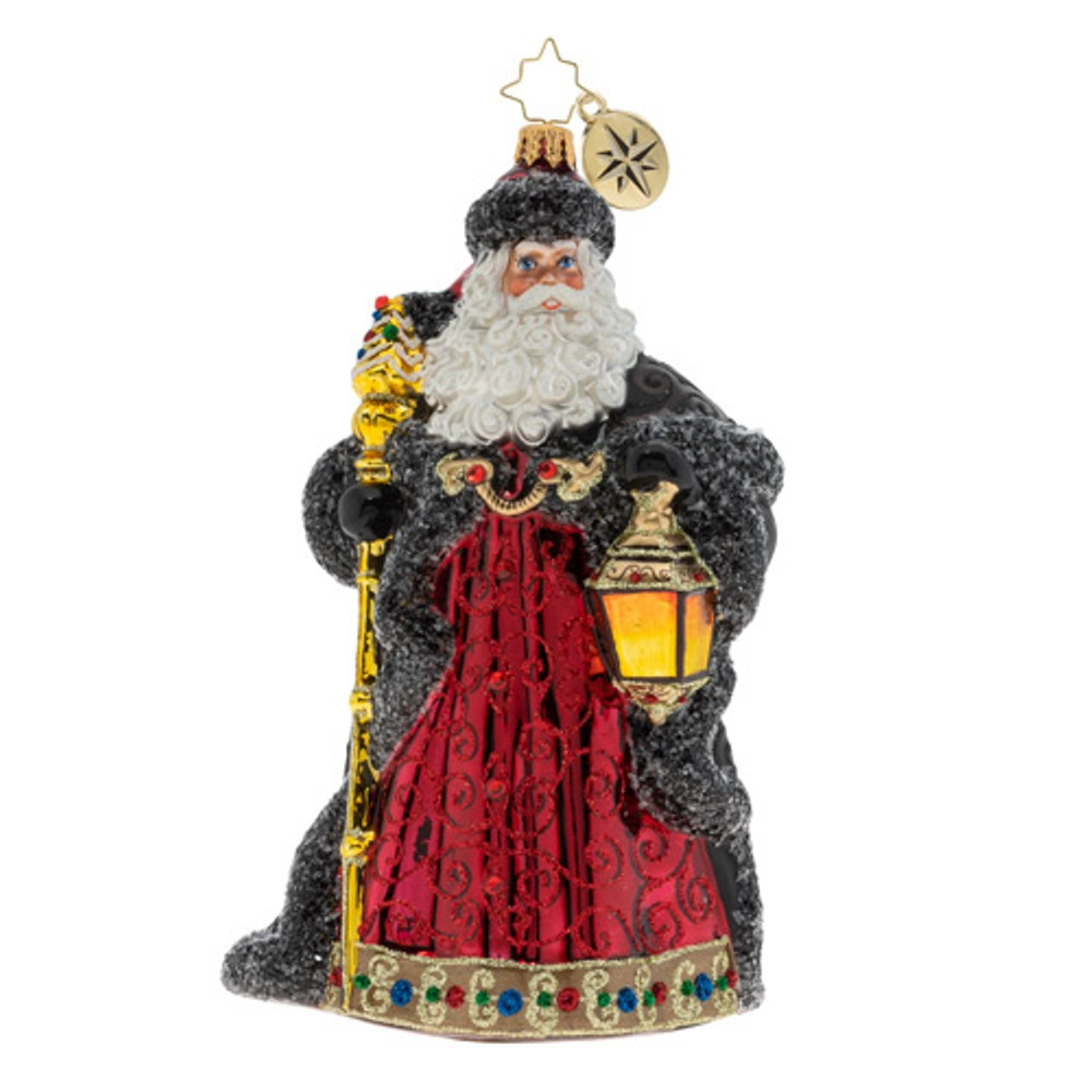 Christopher Radko Glass Ornament - Ebony Clad Mr. Claus 2019