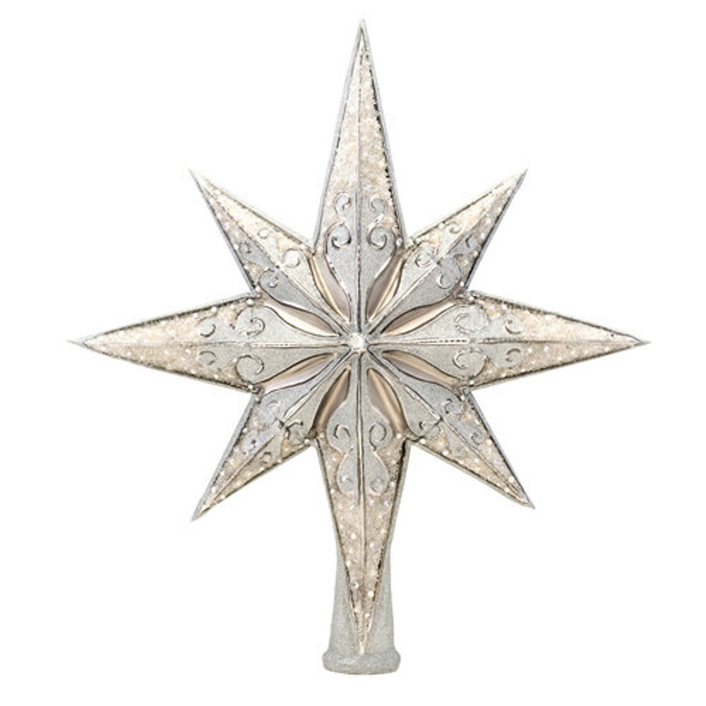 Christopher Radko Glass Ornament Finial - Silver Stellar 2019