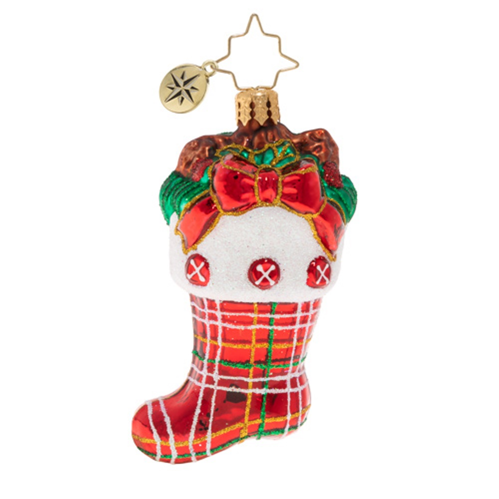 Christopher Radko Glass Ornament - Gem - Classic Country Stocking 2020