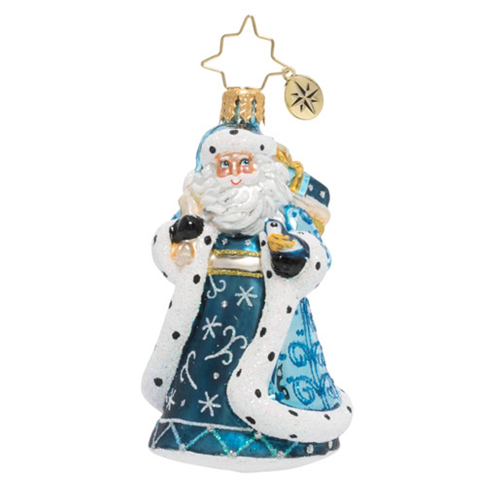 Christopher Radko Glass Ornament - Gem - Debonair Winter Santa 2020
