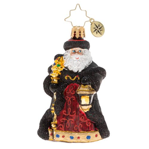Christopher Radko Glass Ornament - Gem - Ebony Clad Mr. Claus 2020