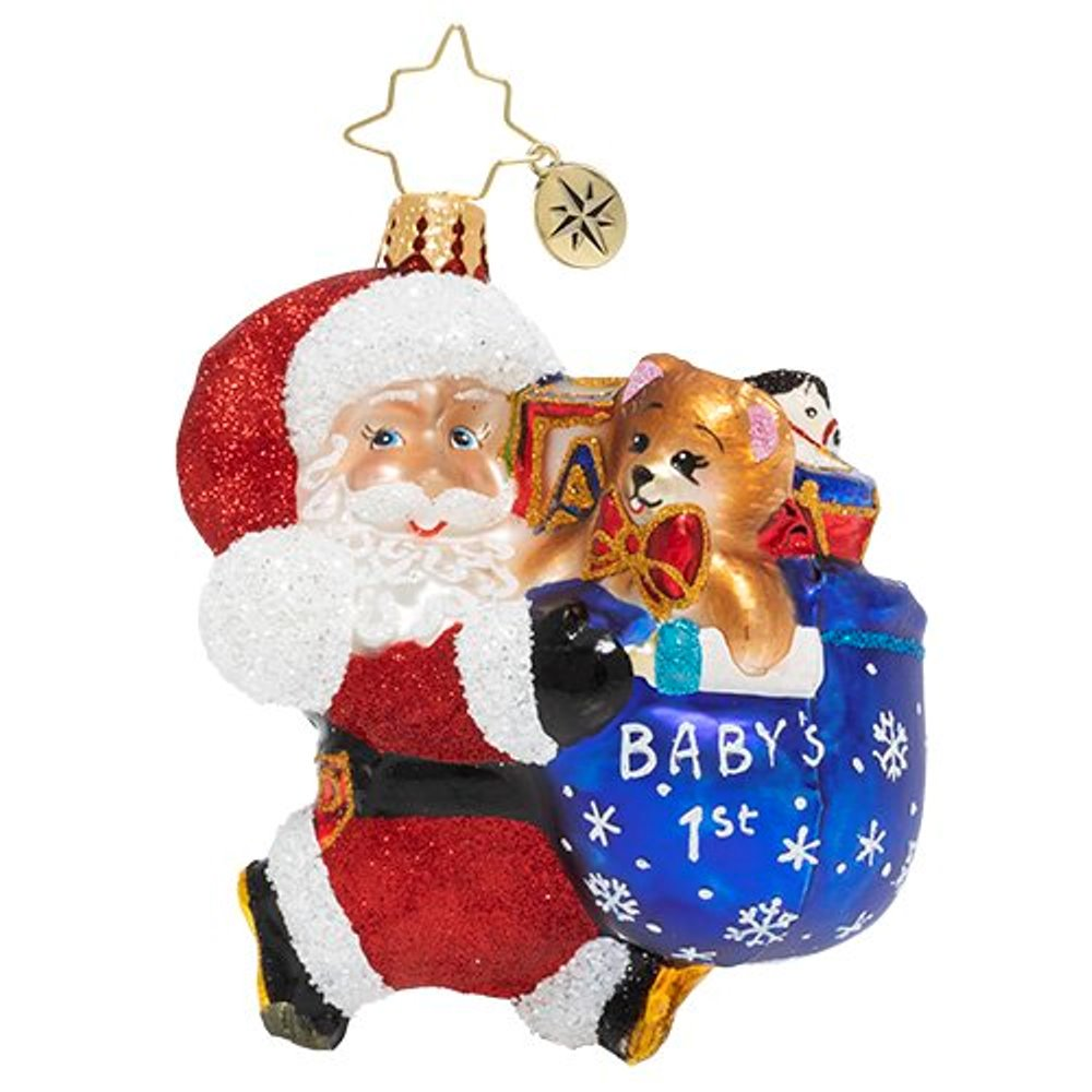 Christopher Radko Glass Ornament - Gem - Hurry Santa 2020