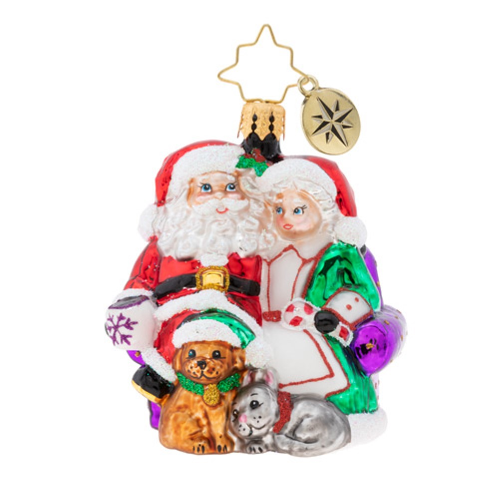 Christopher Radko Glass Ornament Gem - Mr. & Mrs. Claus Pause 2019