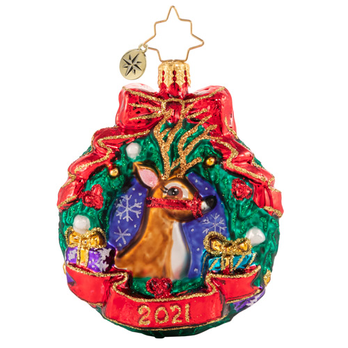 Christopher Radko Glass Ornament - Gem - Oh Deer What A Year 2021