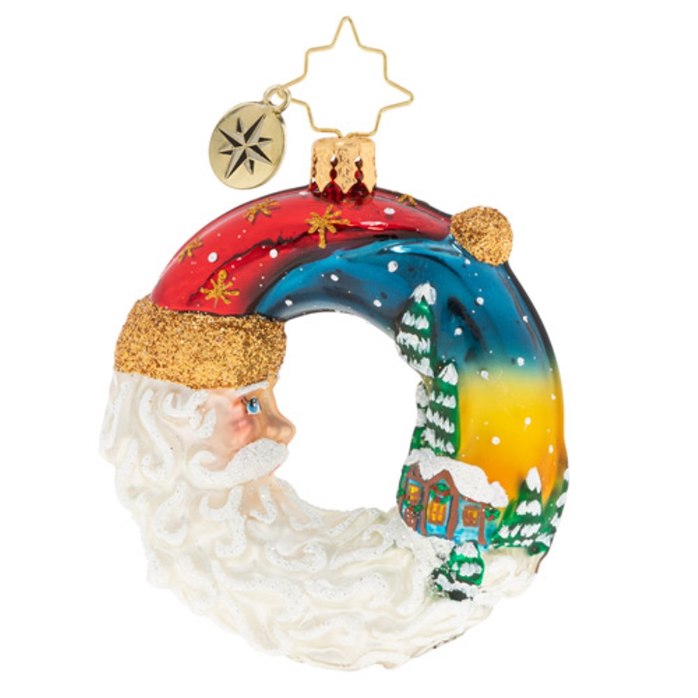 Christopher Radko Glass Ornament - Gem - Santa's Silent Night Wreath 2020
