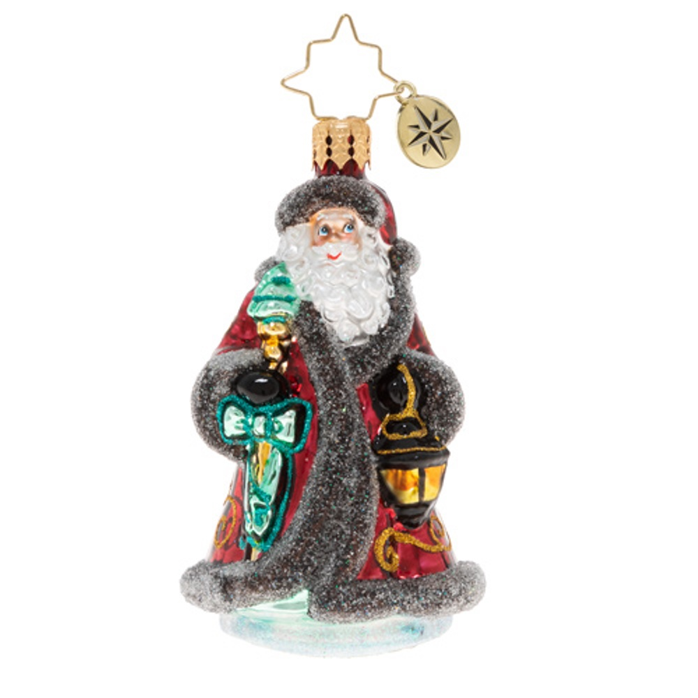 Christopher Radko Glass Ornament - Gem - Traveling Father Christmas 2020