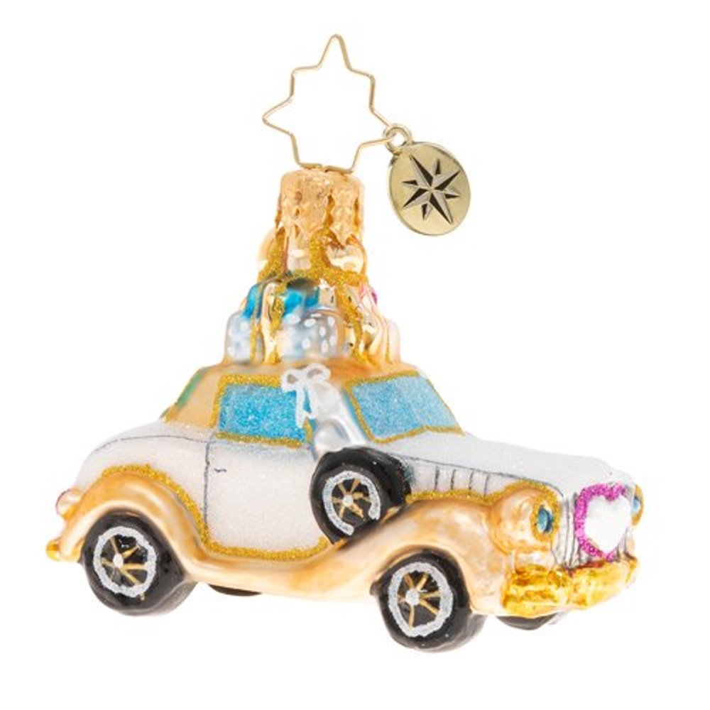 Christopher Radko Glass Ornament - Gem - Wedding Bliss Chariot 2020