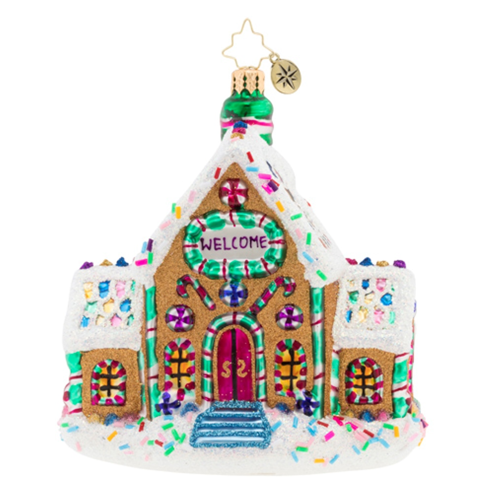 Christopher Radko Glass Ornament - Gingerbread Dream Home 2019