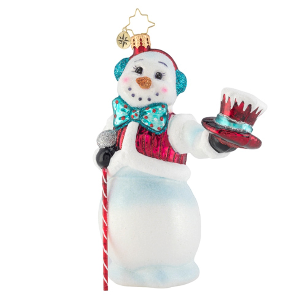 Christopher Radko Glass Ornament - Hats Off Snowman 2019