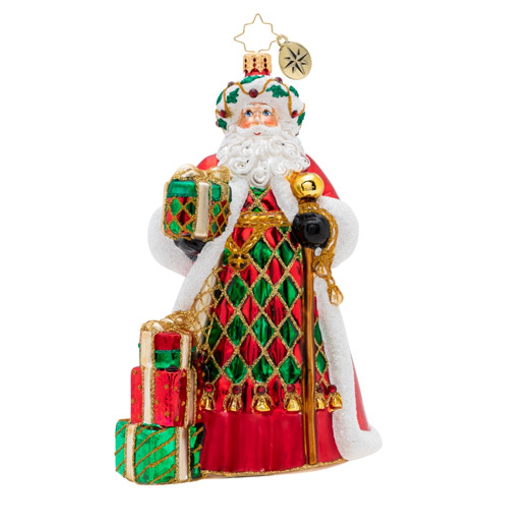 Christopher Radko Glass Ornament - Holiday Harlequin Santa 2019