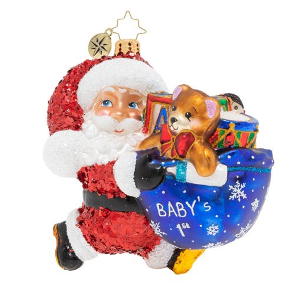 Christopher Radko Glass Ornament - Hurry Santa! It's Baby's First Christmas 2019