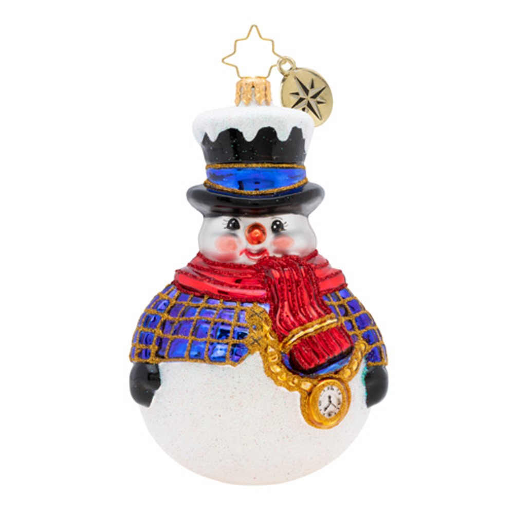 Christopher Radko Glass Ornament - Jolly All A-Round Snowman 2019