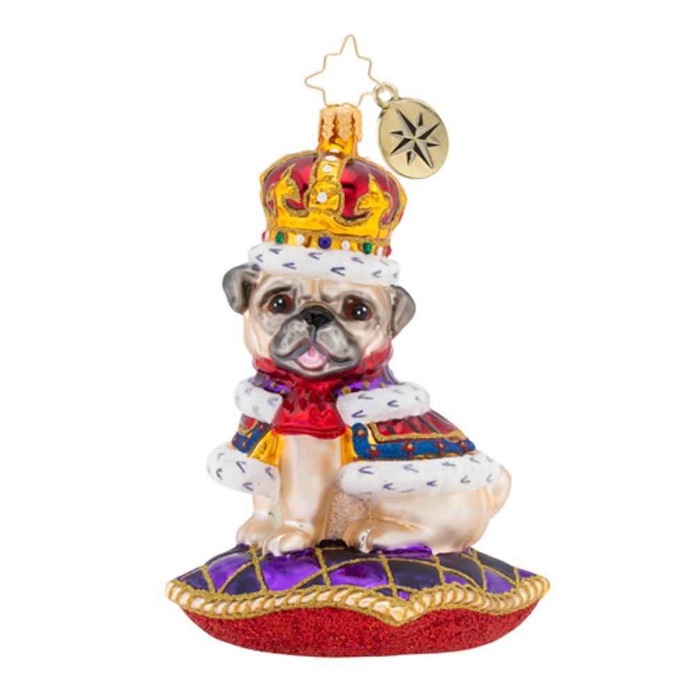 Christopher Radko Glass Ornament - Kingly Mr. Pug 2019