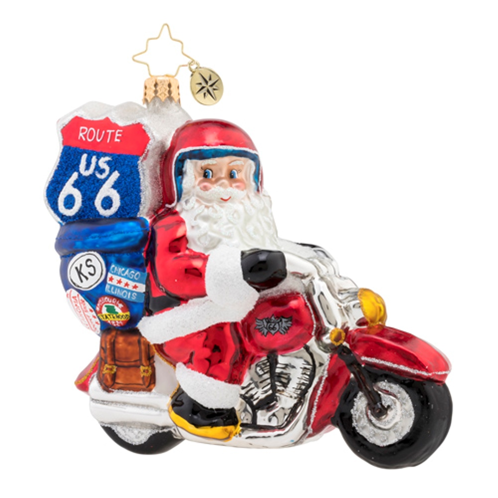 Christopher Radko Glass Ornament - Motorcycle Nick 2019