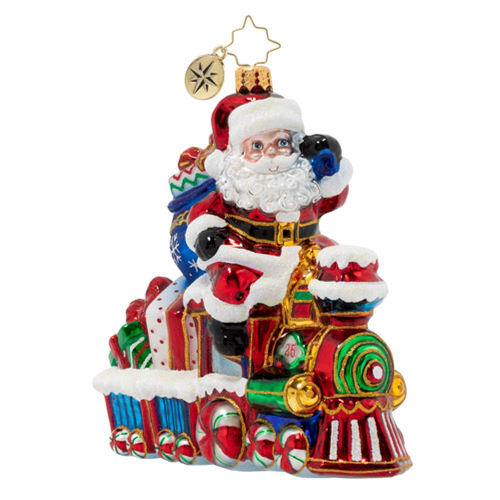 Christopher Radko Glass Ornament - On The Tracks Santa 2020