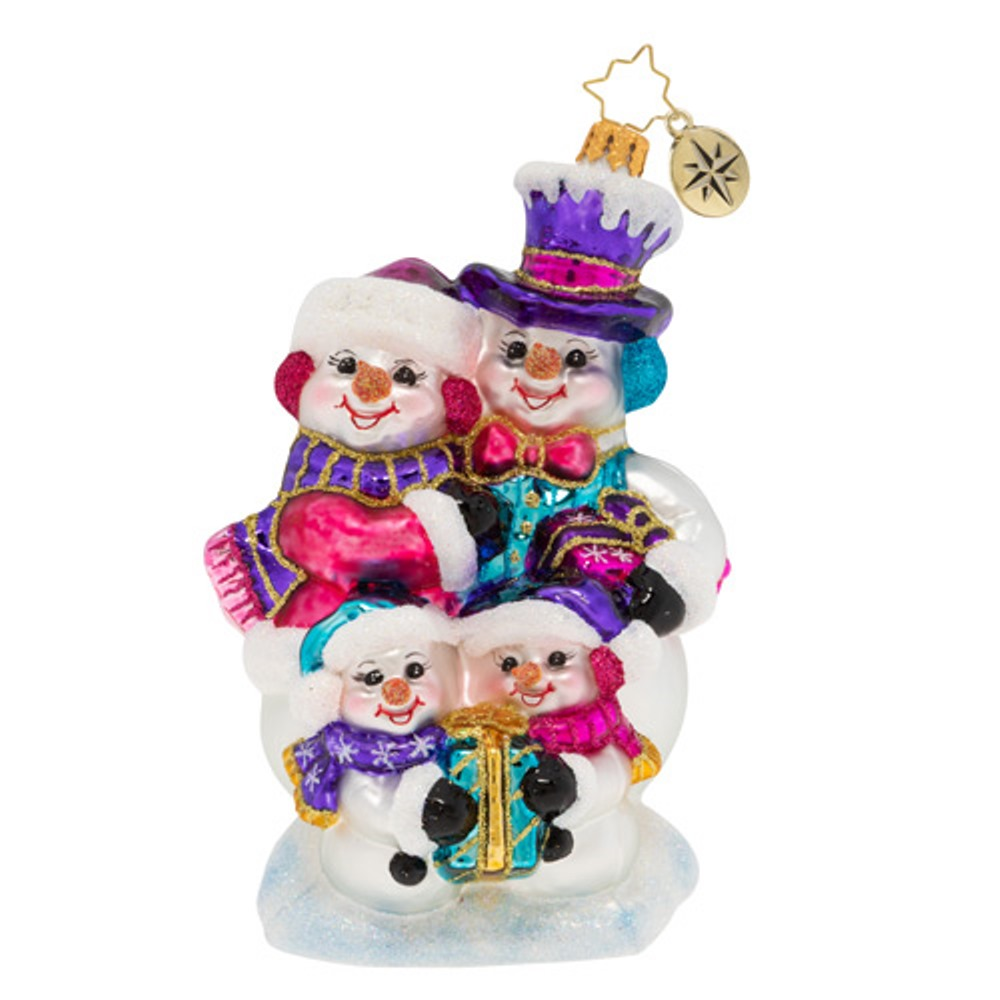 Christopher Radko Glass Ornament - Our Festive Frosty Family 2019