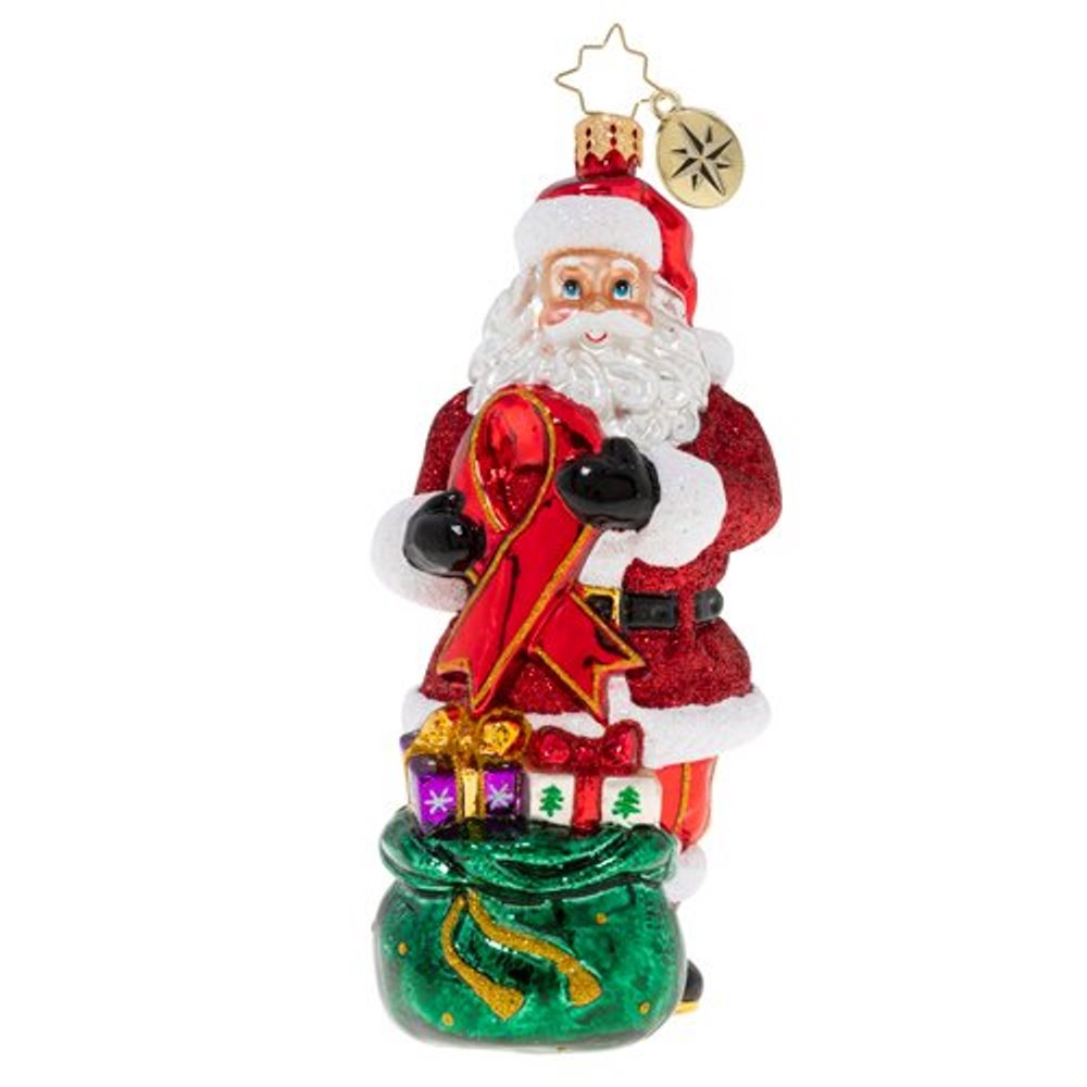 Christopher Radko Glass Ornament - Red Ribbon Awareness Santa 2020