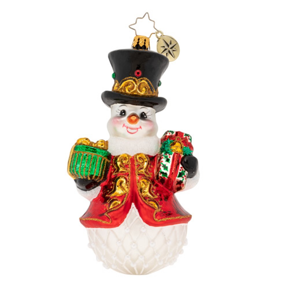 Christopher Radko Glass Ornament - Royal Gift Giving Snowman 2019