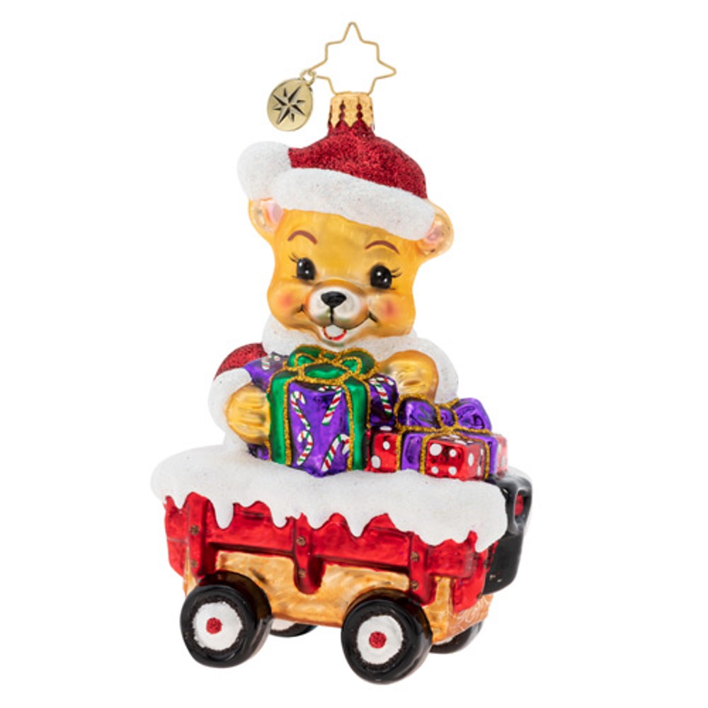 Christopher Radko Glass Ornament - Santa Bear Delivery 2019