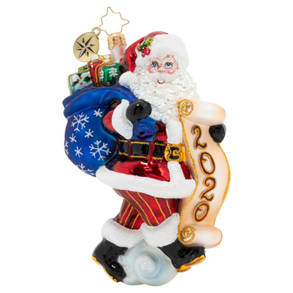 Christopher Radko Glass Ornament - Santa Saves The Date 2020